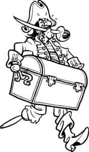 Пират несет сундук