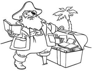 Толстый пират возле сундука