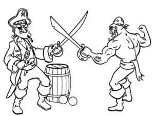 Пираты сражаются на мечах