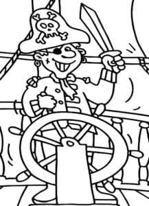 Веселый пират раскраска