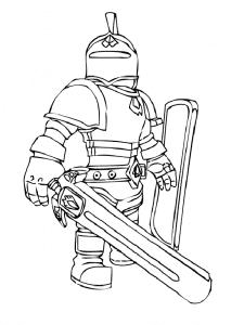 Раскраска Роблокс с мечом и щитом