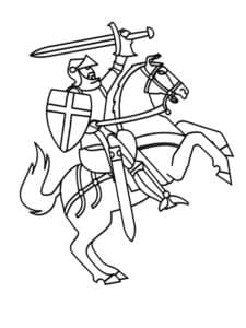 Рыцарь на лошади раскраска
