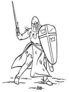 Рыцарь держит щит и меч раскраска