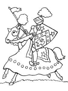 Рыцарь с мечом и флагом на коне