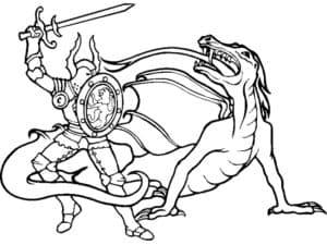 Рыцарь сражается с чудовищем