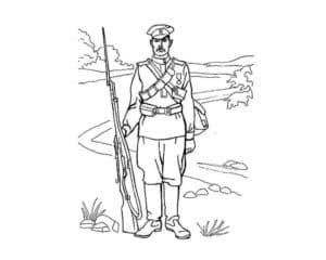 Солдат с ружьем раскраска