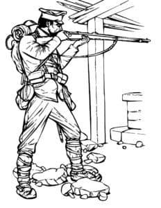Солдат стреляет из ружья
