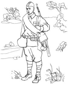 Солдат на природе