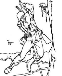 Солдат спускается по веревке