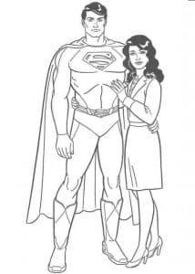 Супермен с девушкой раскраска