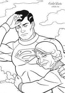Супермен с женщиной раскраска