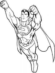 Супермен торопится раскраска