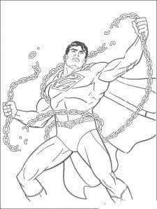 Супермен рвет цепи раскраска
