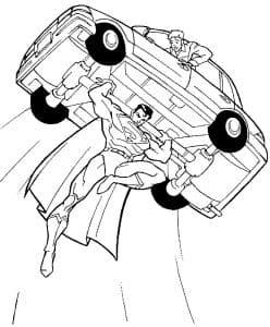 Супермен держит автомобиль раскраска