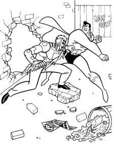 Супермен сражается с злодеем раскраска