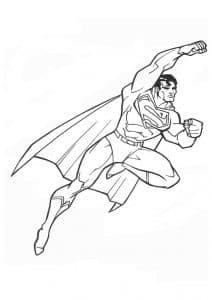 Супермен поднял руку раскраска