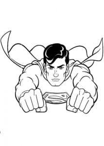 Супермен выставил кулаки раскраска