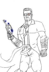 Терминатор с оружием раскраска