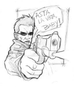 Терминатор с пистолетом раскраска