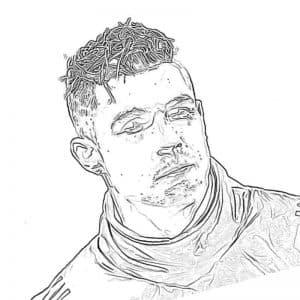 Роналду с прической раскраска
