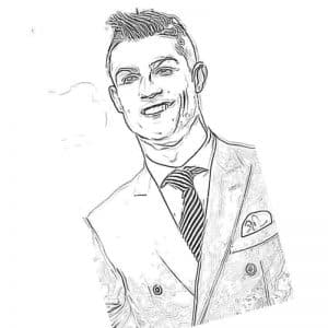 Роналду в пиджаке с галстуком