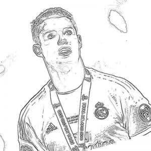 Роналду с медалью раскраска для детей