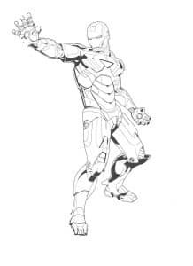 Железный человек вытянул руку раскраска