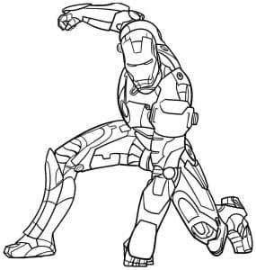 Железный человек в стойке раскраска