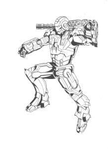 Железный человек с пулеметом раскраска