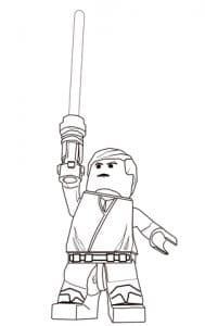 Лего Звездные воины поднимает меч вверх