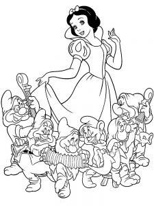 Раскраска Белоснежка и 7 гномов