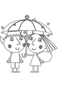 Бен и Холли под зонтом