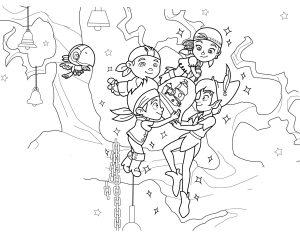 Раскраска Джейк и пираты Нетландии