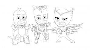 Герои в масках позируют - раскраска