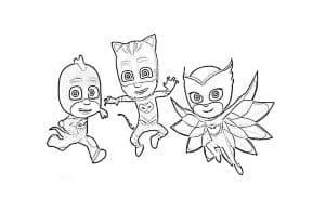 Герои в масках в прыжке