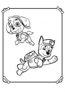Скай и Гонщик раскраска для малышей