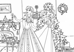 Эльза и Анна раскраска