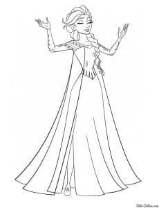 Шикарная принцесса раскраска