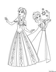 Эльза и Анна танцуют раскраска для детей