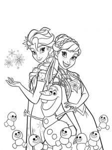 Анна с Эльзой и снеговички