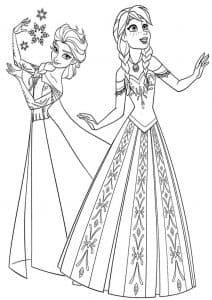 Анна и Эльза в платьях