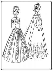 Анна с Эльзой в шикарных платьях