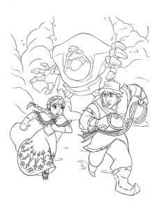 Кристофф Бьоргман и Анна убегают от великана