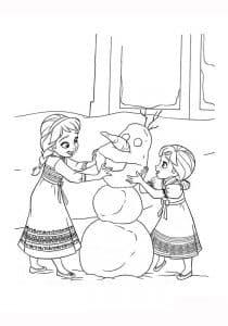 Олаф играет с сестрами