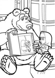 Маша и медведь читают книгу