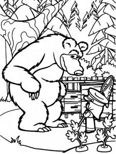 Медведь и Маша с сачком