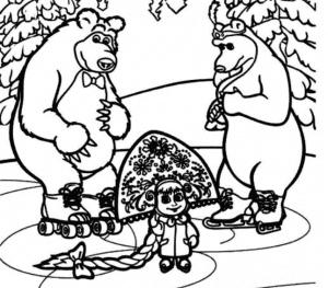 Маша и медведь раскраска