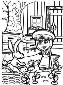 Маша с сочком и зайка