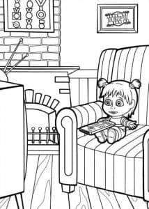 Маша смотрит телевизор раскраска