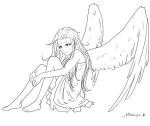 Ангел аниме раскраска